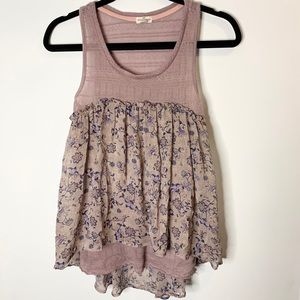 Mason Belle floral High low sleeveless top mauve